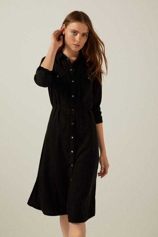 Tencel cotton denim midi dress