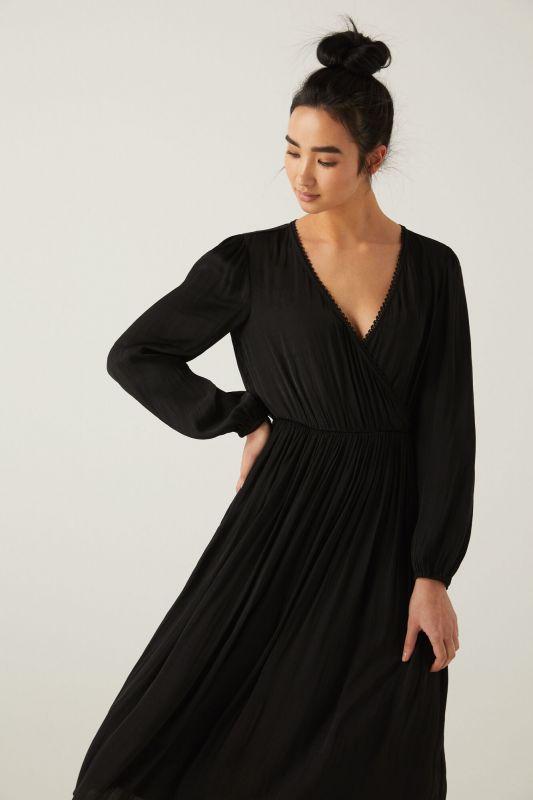 Crossover neckline midi dress