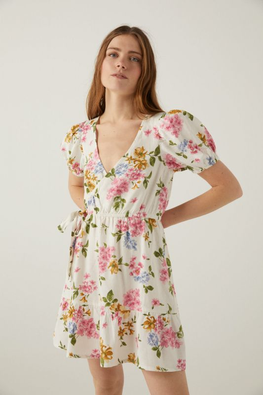 Printed sustainable linen dress