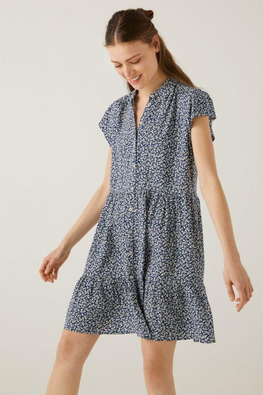Short ditsy floral shirt dress