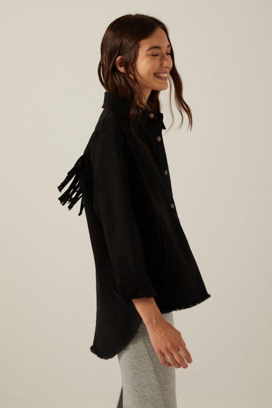 Organic cotton fringed jacket