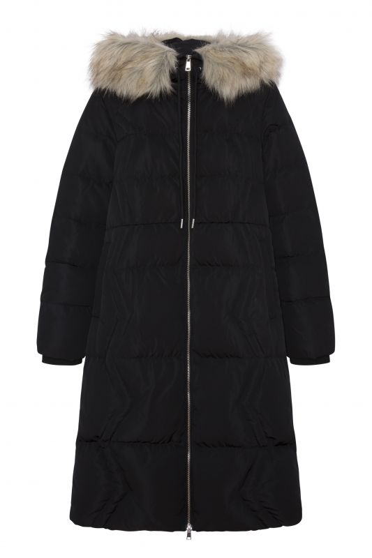 Long Feather Coat with Fur Hood
