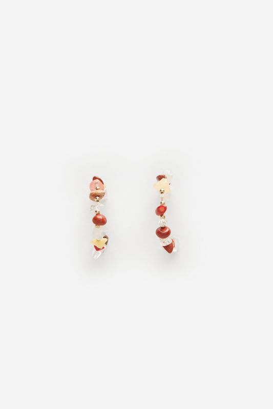 Multicoloured natural stone hoop earrings