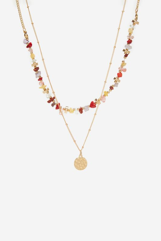 Coloured stones double necklace