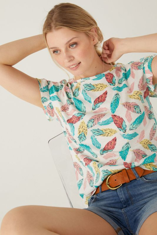 Organic cotton flounced sleeves T-shirt