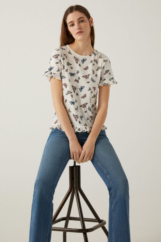 Printed flounced t-shirt