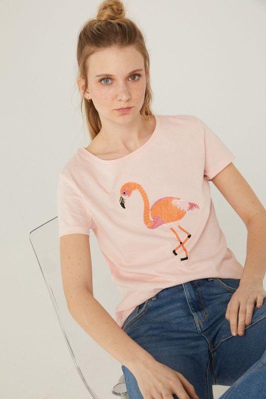 Sequin graphic print T-shirt