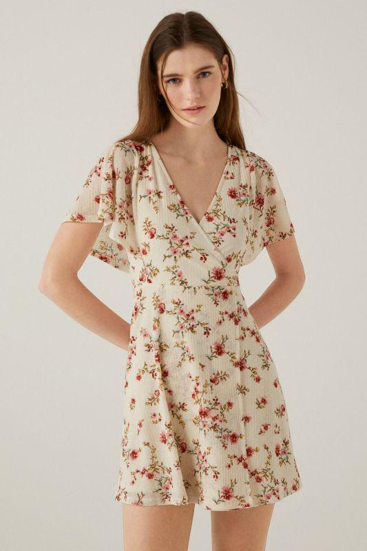 Short printed crossover dress
