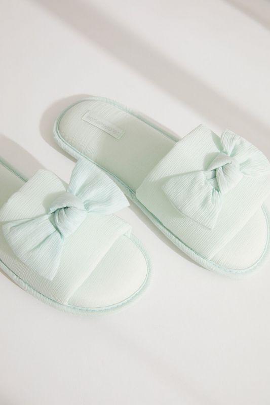 Green bow slider slippers
