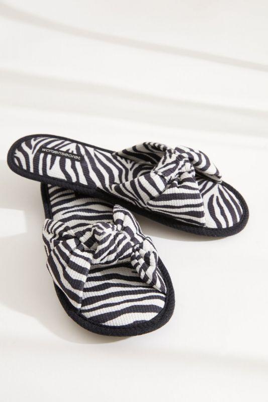 Zebra knot-front mule slippers