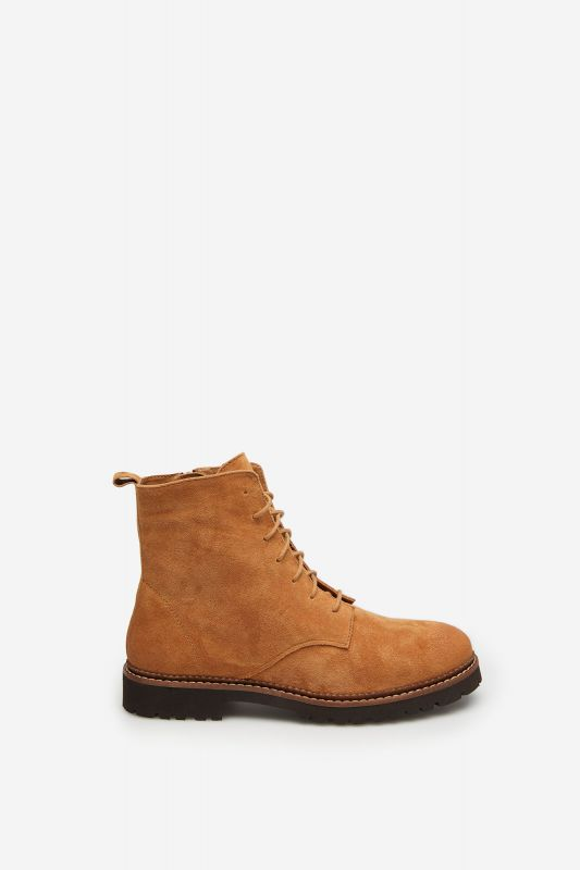 Suede leather lace-up boot